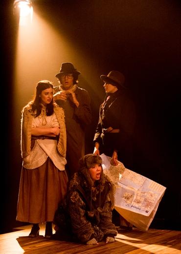Celia (Maria Lovelady), Touchstone (Waleed Hammad), Rosalind (Jasmine Blackborow), Dog (Hephzibah Roe)