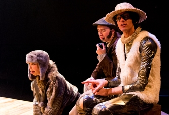 Dog (Hephzibah Roe), Corin (Gemma Clough) and Touchstone (Waleed Hammad)