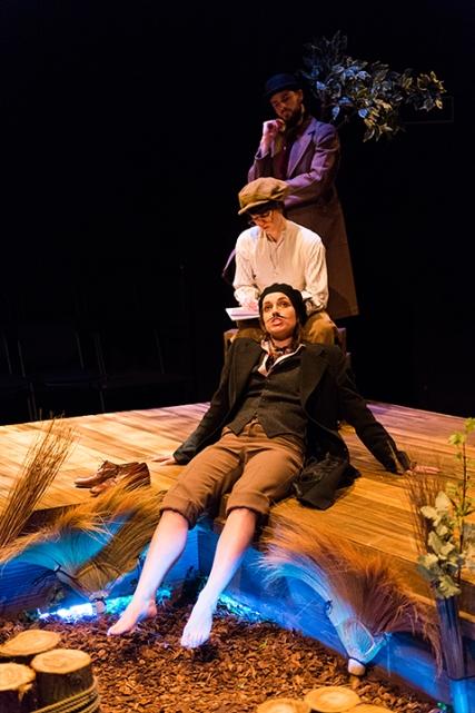 Jaques (Paula Rodriguez), Rosalind (Jasmine Blackborow), Tree (Simon Prag)