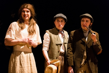 Audrey (Simon Rodda), Silvius (Kate Handford), Corin (Gemma Clough)