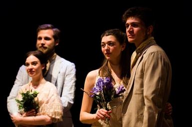 Celia (Maria Lovelady), Oliver 9Robert Raeder), Rosalind (Jasmine Blackborow), Orlando (Joshua Ogle)