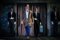 Posthumus (Adam Goodbody), Pisanio (John Chisham) and servants (Fernando Sakanassi, Amilcar Franco). Photo by Cameron Harle