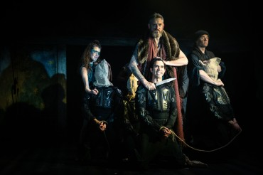 Arviragus (Jessica Bank), Belarius (Jonathan Dickson), Caius Lucius (Amilcar Franco), Jailer (Darcy Kent). Photo by Cameron Harle