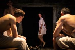 Ragazzi imbecilli: Iachimo (Fernando Sakanassi), Posthumus (Adam Goodbody), Roman Baths Attendant (Maryam Khundadze) and A Dutchman (Jonathan Dickson). Photo by Cameron Harle