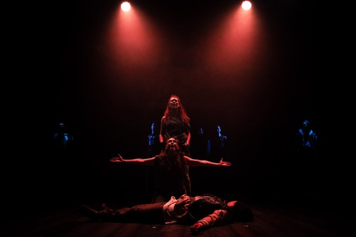 Fear No More The Heat Of The Sun: Arviragus (Jessica Bank), Guiderius (Zoë Clayton-Kelly) and Innogen (Briony Farrell). Photo by Cameron Harle