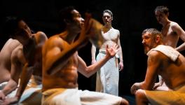 Iachimo (Fernando Sakanassi), A Frenchman (Amilcar Franco), Posthumus (Adam Goodbody), A Dutchman (Jonathan Dickson), Philario (Peter Ferneding). Photo by Patrick Baldwin