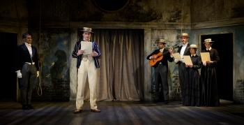 Sebastian (Darian Bengston), Cloten (Darcy Kent), Musicians (Amilcar Franco, Jonathan Dickson, Mariam Khundadze, Zoë Clayton-Kelly). Photo by Patrick Baldwin