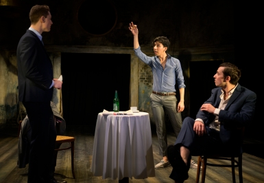 Posthumus (Adam Goodbody), Iachimo (Fernando Sakanassi), Philario (Peter Ferneding).Photo by Patrick Baldwin