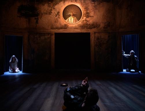 Posthumus' dream: Ghost of Posthumus' Mother (Mariam Khundadze), Juno (Kaysha Woollery), Posthumus (Adam Goodbody), Ghost of Posthumus' Father (Peter Ferneding). Photo by Patrick Baldwin